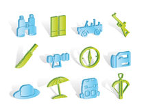 Safari, hunting and holiday icons Stock Image