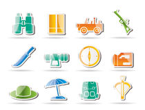 Safari, hunting and holiday icons Stock Photo