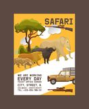 Safari hunting poster vector illustration. Hunter accessories such as gun, jeep car or vehicle in nature with plants as. Trees, bushes. Sunset. Wild animals as stock illustration
