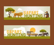 Safari hunting set of banners vector illustration. Hunter accessories such as gun, binoculars, jeep car or vehicle in. Nature with plants as trees. Sunset stock illustration