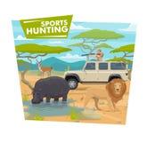 Hunting sport, African safari, hunter and animals. Safari hunting sport, hunter in jeep holding rifle or gun. Vector huntsman in car and wild animals, hippo vector illustration