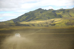 Safari in Iceland. Scenic landscape with off-road car during safari inside the Iceland Stock Photos