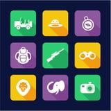 Safari Icons Flat Design Stock Photo