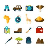 Safari Icons Set. Safari expedition icons set with compass map camera car isolated vector illustration Stock Image