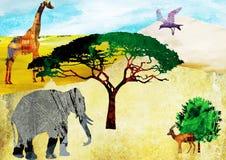 Safari. Illustration of a number of wild animal in the Safari Royalty Free Stock Image