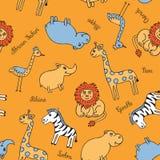 Safari inconsútil del animal del modelo stock de ilustración
