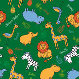 Safari inconsútil del animal del modelo Imagen de archivo