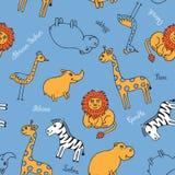 Safari inconsútil del animal del modelo ilustración del vector