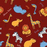 Safari inconsútil del animal del modelo Fotos de archivo