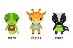 Safari jaszczurka i żyrafa wimy się, dziecko śmierdziela ikony ilustracji