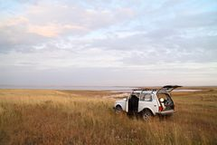 Safari by jeep. Stop for a rest Royalty Free Stock Photo