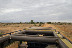 On a Safari Jeep. Photo taken from the roof of the jeep that we used to go through Tsavo East National Park, Kenya Royalty Free Stock Photography