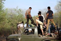 Safari jeep in zone 4 of Ranthambore park Royalty Free Stock Photos