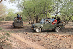 Safari jeep in zone 4 of Ranthambore park Stock Photography