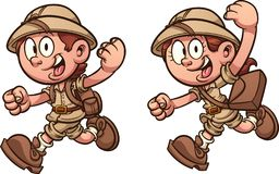 Cartoon kids running with safari costumes. royalty free illustration