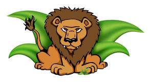 Safari Lion in Grass Vector. A cartoon Lion sitting in some green plants waiting for lunch to walk by. Eps file is available royalty free illustration