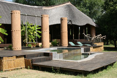 Safari Lodge. A view of the Luangwa River Lodge in the South Luangwa Valley, Zambia Royalty Free Stock Images