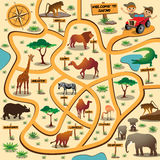 Safari maze game. Maze game for children with african animals. Vector illustration Stock Images
