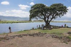 Safari in Nogorongoro Crater, picnic place Royalty Free Stock Photos