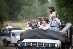 Safari. Off-road jeep with family visitors. Minneriya. Sri Lanka.