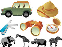 Safari Outdoor Adventure. Safari themed objects isolated in white background Royalty Free Stock Photos