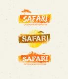 Safari Outdoor Adventure Vector Design beståndsdelar Naturligt Grungebegrepp på återanvänd pappers- bakgrund stock illustrationer