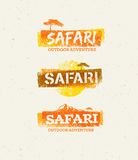 Safari Outdoor Adventure Vector Design Elements. Natural Grunge Concept on Recycled Paper Background Royalty Free Stock Photography