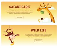 Safari Park, Wild Life Horizontal Banners Set, Wild African Nature Landscape with Animals Vector Illustration royalty free illustration