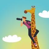 Safari. Photographer with a giraffe Royalty Free Stock Photos