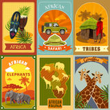 Safari Posters Set. African safari cartoon posters set with tribes and fauna symbols  vector illustration Royalty Free Stock Photo