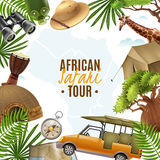 Safari Realistic Vector Illustration With Accessories Frame Royalty Free Stock Photo