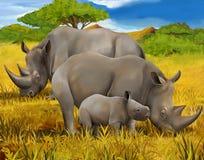 Safari - rhino - illustration for the children Stock Image
