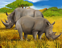 Safari - rhino - illustration for the children Stock Image