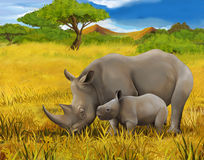 Safari - rhino - illustration for the children Stock Photo