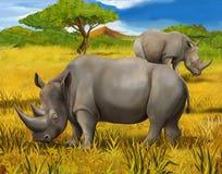 Safari - rinoceros - illustratie voor de kinderen Stock Afbeeldingen