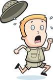 Safari Running. A cartoon boy in safari clothes Royalty Free Stock Images