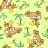 On safari. On safari seamless pattern with cute animals in a 4WD Royalty Free Stock Images