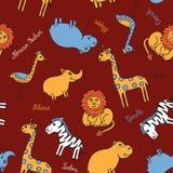 Safari sem emenda do animal do teste padrão Fotos de Stock
