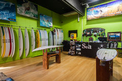Safari Spider Surfboards Shop Durban. New surfboards shapes hang in the display shop by Spider Murphy at Safari Surfboards Stock Photography