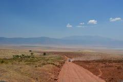 Safari Tanzania del camino y del coche y del león Imagen de archivo libre de regalías