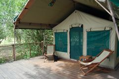 Safari Tent. In Tanzania stock photography
