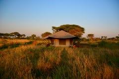 Safari Tent during sunset in savannah in Serengeti National Park, Tanzania Stock Photos