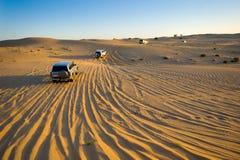 Safari tour through desert stock images