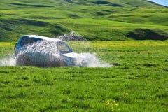 Safari tous terrains 4x4 Prés, marais et montagnes verts Image stock