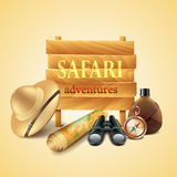 Safari travel accessories vector background Stock Images