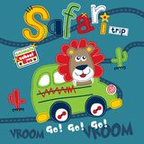 Safari trip funny animal cartoon,vector illustration. For t shirt and wallpaper or book stock illustration
