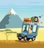 Safari truck in African savannah. Illustration Royalty Free Stock Images