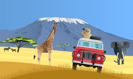 Safari truck in African savannah Stock Images