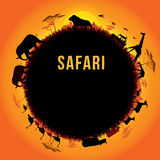 Safari. Vector illustration of Africa landscape with wildlife and sunset background. Safari theme Stock Photos