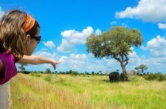 Safari w Afryka, dziecko w samochodowym pokazuje słoniu Obraz Royalty Free